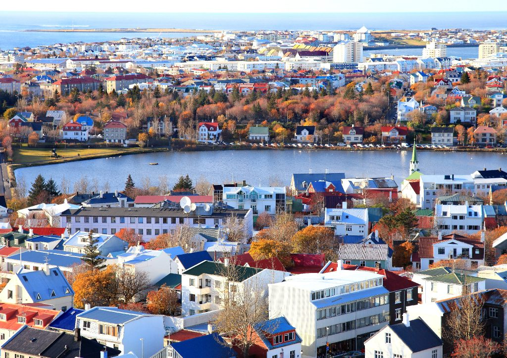 Reykjavik city walk, view from Hallgrimskirkja church