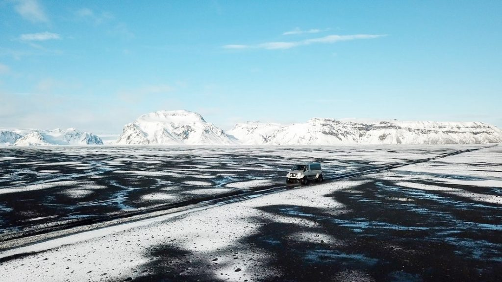 Winter roads in Iceland on the way to Katla Ice Cave