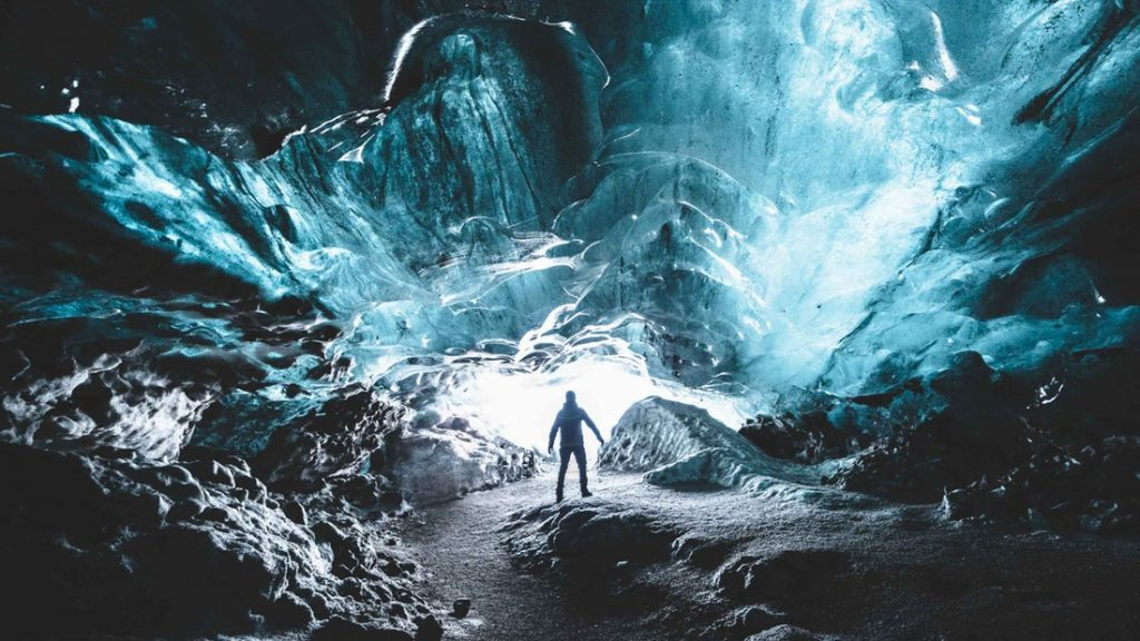 crystal blue ice cave in Iceland