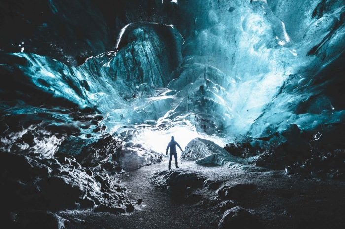 Natural Ice Cave by Katla Volcano